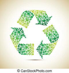 recicle, mão humana