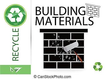 recicle, materiais edifício, favor