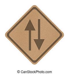 recicle, papel, dois modo, sinal, isolado, branco