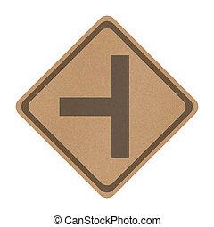 recicle, papel, três, separado, sinal estrada, isolado,...
