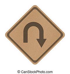recicle, papel, volta, estrada traseira, sinal, isolado,...