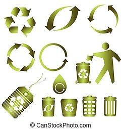 recicle, para, limpo, meio ambiente