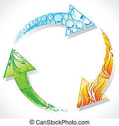 recicle símbolo, com, elemento, de, terra
