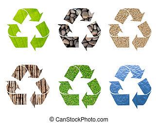recicle símbolo, de, natural, textura, em, conceitual, limpo, meio ambiente