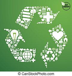 recicle símbolo, jogo, verde, ícones