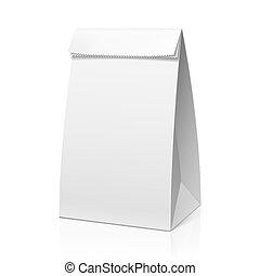 recicle, saco, branca, papel