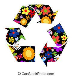 recicle, sinais, com, flores