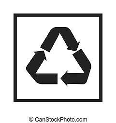 recicle, sinal, em, pretas, quadrado