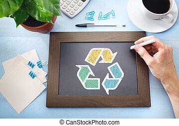 recicle, sinal, ligado, pretas, chalkboard
