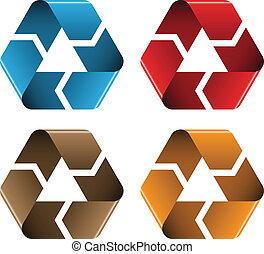 recicle, vetorial, colorido, ícones
