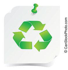 recicle, vetorial, verde, ícone