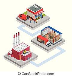 recicled, isométrique, process., gaspillage, materials., traitement, production, marchandises, camion, transport, technologique, recyclage, nouveau, déchets ménagers, plant.