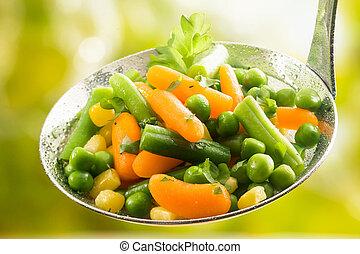 recientemente, cosechado, variado, joven, vegetales