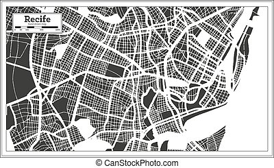 Recife Brazil City Map in Retro Style. Outline Map. Vector Illustration.