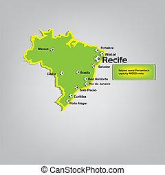 recife stadium location on map
