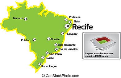 recife stadium with map location
