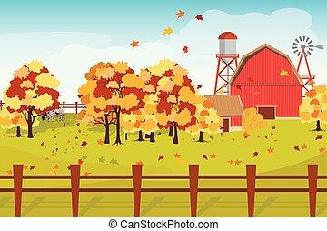 recintato, plot., rosso, fattoria, autunno, vettore, illustrazione