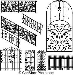 recinti, collezione, (vector)