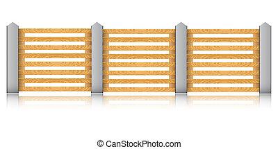 recinto, concreto, legno, fondo., vettore, bianco, colonne