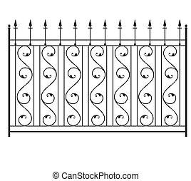 recinto, griglia, porta, finestra, disegno, ferro, ringhiera...