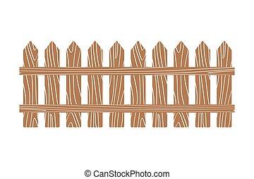 recinto, legno, illustrazione, vettore, rurale, bianco