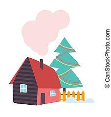 recinto, legno, paese, camino, vettore, casa