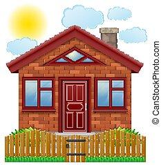 recinto, legno, paese, illustrazione, vettore, casa, piccolo