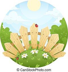 recinto legno, su, prato, con, fiore
