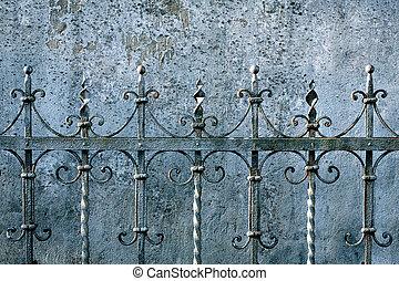 recinto metallo, e, uno, parete