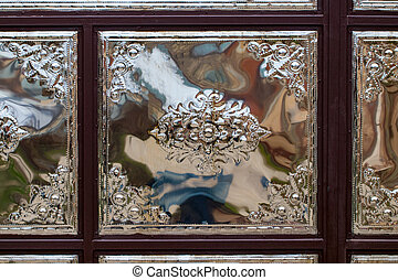 recinto metallo, fatto, di, acciaio, verghe, e, striscie, closeup, foto