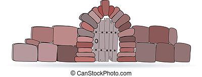 recinto pietra, wickets, vettore, fondo, bianco, cartone animato