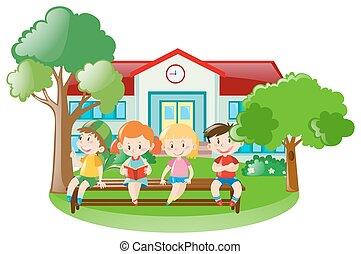 recinto scuola, bambini