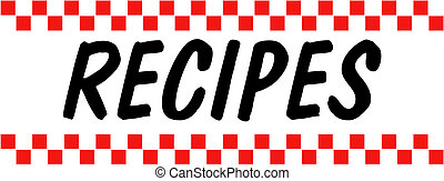 Recipes, baking or cooking sales or sale sign in retro or vintage 1950s style clip art perfect for a tin sign, menu or website.