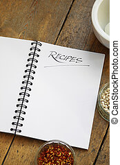 Recipe Book - A blank wire spiral bound recipe book with the...