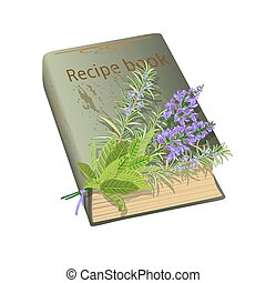recipe book and flowers - Old recipe book with bunch of ...
