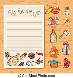 Recipe book page with empty writing field and isolated decorative cartoon dishware icons on wooden background vector illustration