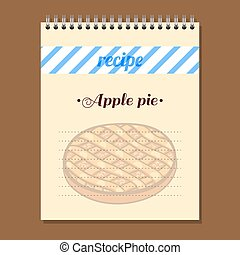Recipe Book Apple Pie - Page for recipe book with hand drawn...