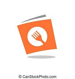Recipe book, book with fork symbol, vector logo design