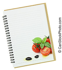 Recipe  book. Fresh basil and cherry tomatoes painting on blank notebook page