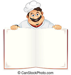 Funny Chef with Blank Cookbook, Menu or Notepad