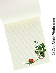 Recipe book. Parsley and cherry tomato painting on blank notebook page