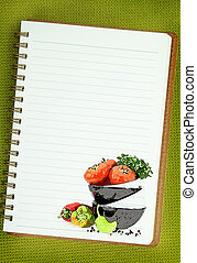Recipe  book. Vegetables painting on blank notebook page