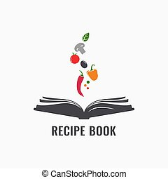 Recipe book with vegetables. Cookbook of recipes