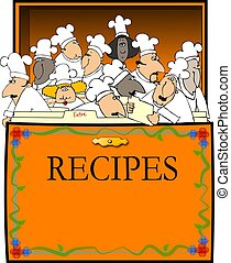 This illustration depicts an open recipe box with assorted chefs between the divider cards.