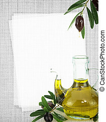 Recipe card. Bottle of olive oil on fabric texture