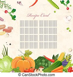 recipe card with fresh vegetables on background of grunge paper