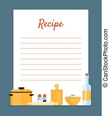 Recipe Cookbook Decorated with Kitchen Tools, Card with Lines for Recipe Placement Vector Illustration, Web Design