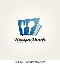 Recipe food book vector logo design, food icon