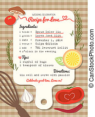 Recipe card creative Wedding Invitation design with cooking concept