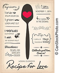 Recipe card Wedding Invitation design cooking concept